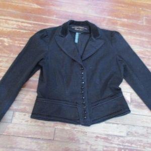 Steampunk Military denim velvet jacket coat Band